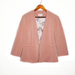Skies Are Blue  Blush Pink 3/4 Sleeve Open Blazer